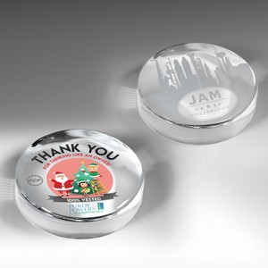 The Prestige Round Glass Award Paperweight (4-Color Process)