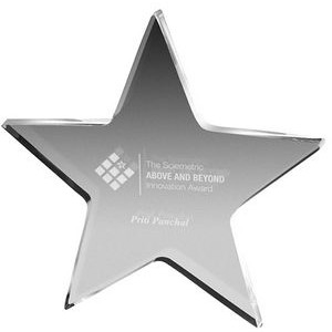 "Clear Star Paper Weight (5""x 5""x 3/8"") Laser Engraved"